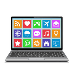 Laptop with apps icons vector