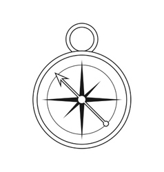 outline compass location element camping vector image