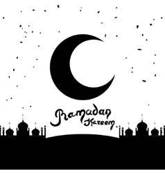 Ramadan Kareem lettering Hand Drawn Text with vector image