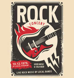rock music retro poster design vector image