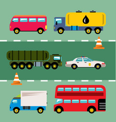 set of transportation flat style colorful vector image