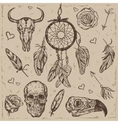 Skull Boho Tattoo Set vector image