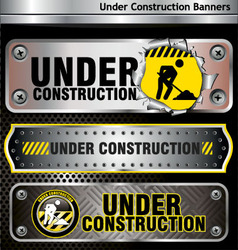 under construction banners vector image vector image