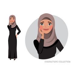 A cute shy arabian girl vector