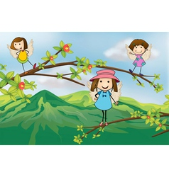 Angels playing at branch a tree vector