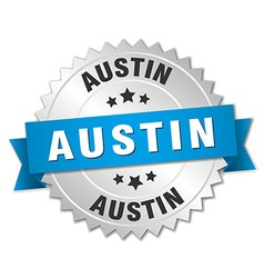 Austin round silver badge with blue ribbon vector