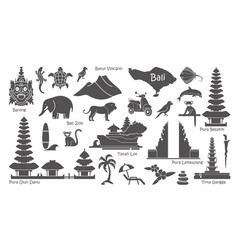 Bali indonesia icons set attractions flat vector