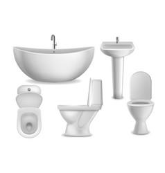 Bathroom realistic objects white bathtub toilet vector
