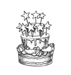 birthday cake decorated with stars retro vector image