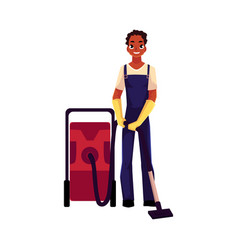Black cleaning service boy man in overalls vector