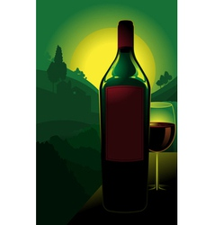Bottle of wine in countryside vector
