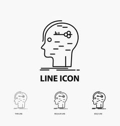 Brain hack hacking key mind icon in thin regular vector