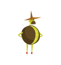 Brave kiwi cartoon character man in fruit costume vector