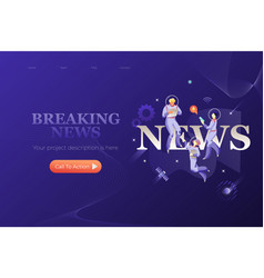 breaking news web page design template vector image