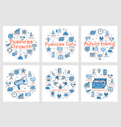 business banners with icons in square set vector image