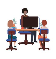 Businessman in office with children avatar vector
