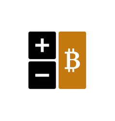 Calculator with bitcoin sign vector