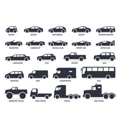 Car type icons set model automobile black vector