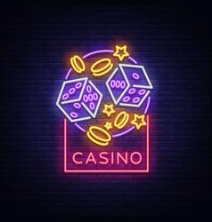 Casino is a neon sign neon logo emblem gambling vector