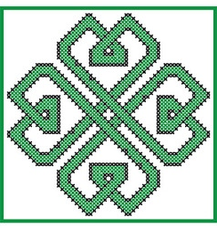 Celtic endless knot in clover with hearts element vector