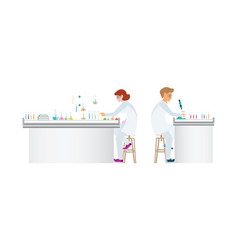 chemists doing experiments and running chemical vector image