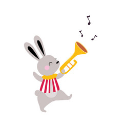 Circus hare animal walking and playing trumpet vector