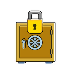 color strong box object and padlock security vector image