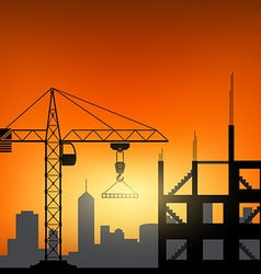 Construction cranes at sunset background vector