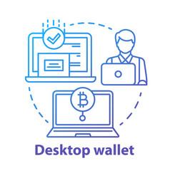 Desktop wallet blue concept icon money transfer vector