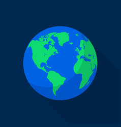 Earth space planet icon flat style vector