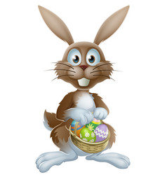 easter bunny with chocolate eggs vector image