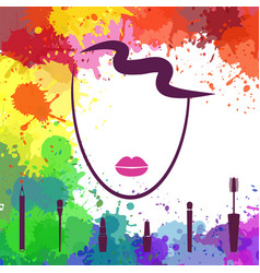 Face of beautiful girl logo template makeup vector