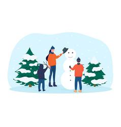 family winter leisure activities vector image