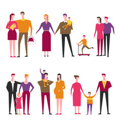 family with kids cartoon parents and vector image