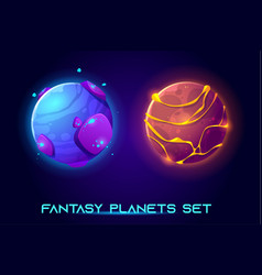 fantastic space planets for ui galaxy game vector image