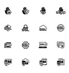 flat design security and protection icons set vector image