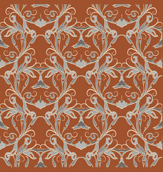 floral damask seamless pattern ornat vector image