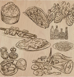 Food around the world - set hand drawn vector