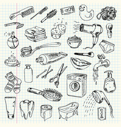 Freehand drawing hygiene and cleaning products vector