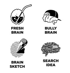 Fresh and bully sketch brain search idea isolated vector