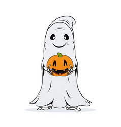 Ghost with pumpkin in hands on white background vector