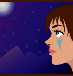 Girl moon and mountains vector