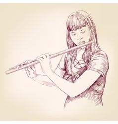 Girl playing the flute hand drawn vector