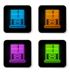 glowing neon mail server icon isolated on white vector image