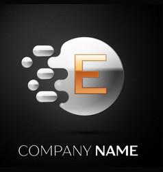 gold letter e logo silver dots splash vector image
