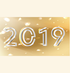 golden silver 2019 new year abstract background vector image