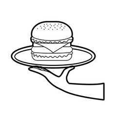 hand holding burger in dish fast food tasty vector image