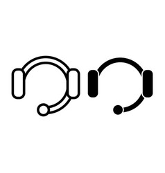 headset with microphone line and glyph icon vector image
