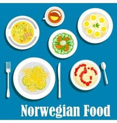 Healthy breakfast of norwegian cuisine flat icon vector