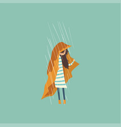 Heavy rain pouring on sad girl under yellow cloth vector